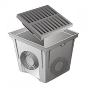 Regard PVC avec grille renforcée 30x30 cm, gris, le lot de 2  pièces