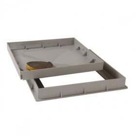 Cadre et tampon à carreler PVC gris 50x50 cm, Nicoll CTR5