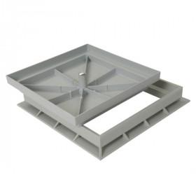 Cadre et tampon à carreler PVC gris 30x30 cm, Nicoll CTR3