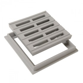 Grille de sol PVC 20 x 20 cm gris clair Nicoll GRC20 avec cadre