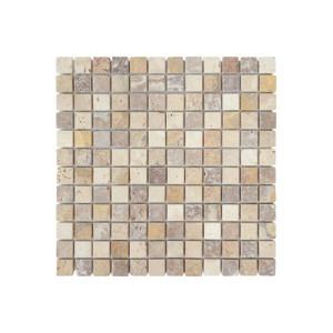 Mosaïque Mix Couleurs Travertin Naturel 1135, Plaque 30,5 x 30,5 x 1 cm