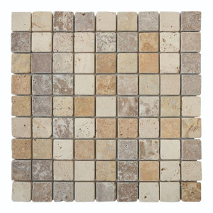 Mosaïque Mix Couleurs Travertin Naturel 3089, Plaque 30,5 x 30,5 x 1 cm