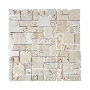Mosaïque Romano Travertin Naturel 3555, Plaque 30,5 x 30,5 x 1 cm
