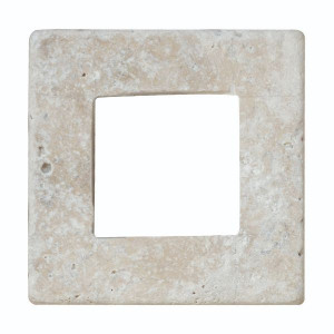 Carreau Carrelage Ivoire Percé Travertin Naturel 3672, 9,8 x 9,8 x 1 cm
