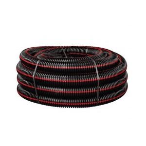 Gaine TPC noire bande rouge Ø 50 mm en couronne de 50 ml, la couronne